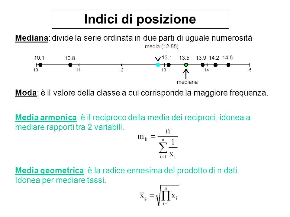 Indici di posizione Mediana: divide la serie ordinata in due parti di uguale numerosità.