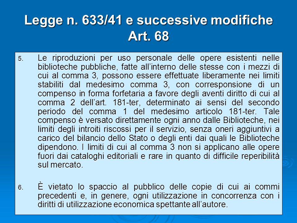 Legge n. 633/41 e successive modifiche Art. 68