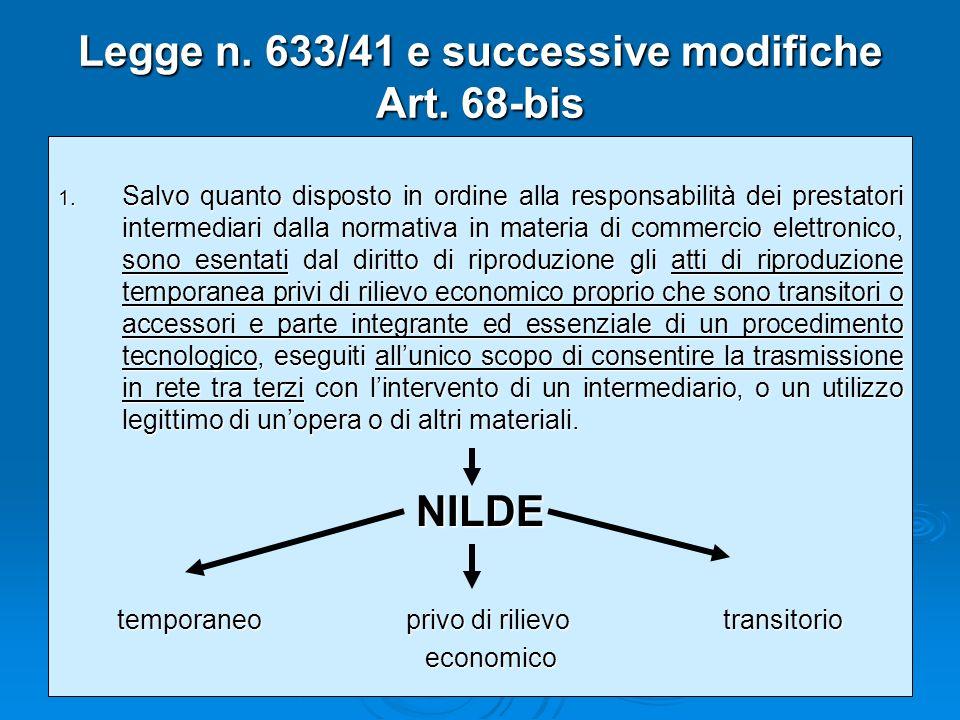 Legge n. 633/41 e successive modifiche Art. 68-bis