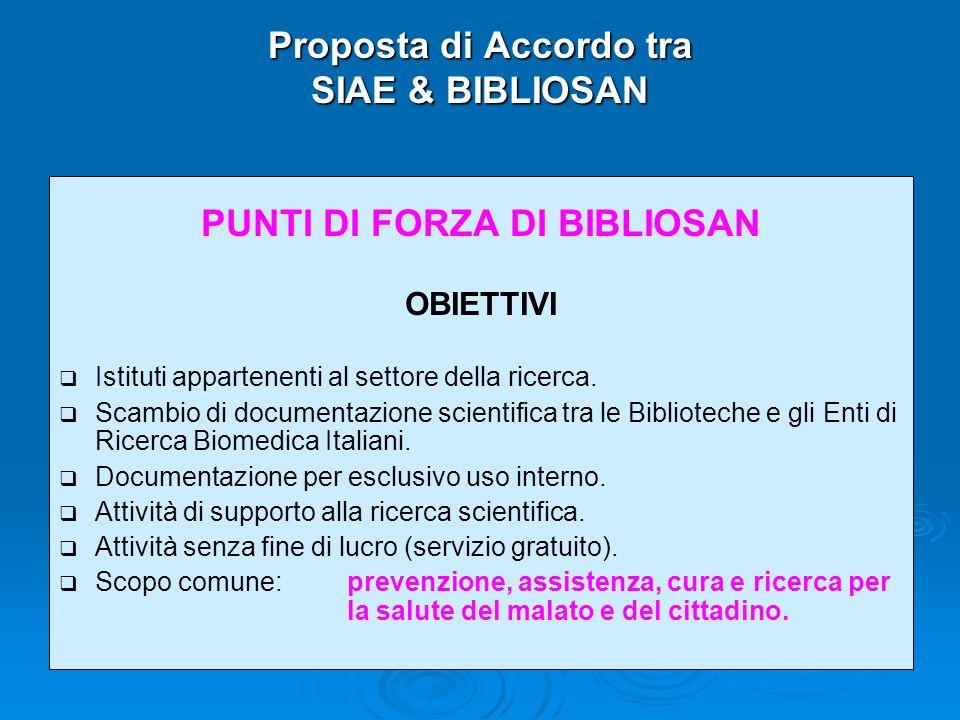 Proposta di Accordo tra SIAE & BIBLIOSAN