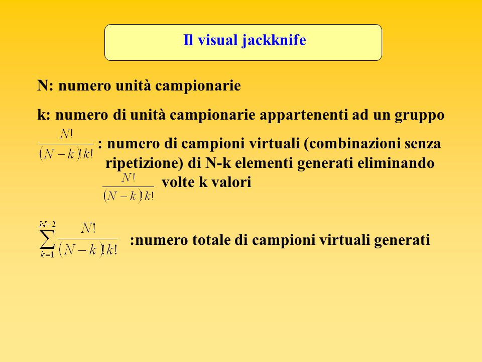 Il visual jackknife N: numero unità campionarie. k: numero di unità campionarie appartenenti ad un gruppo.
