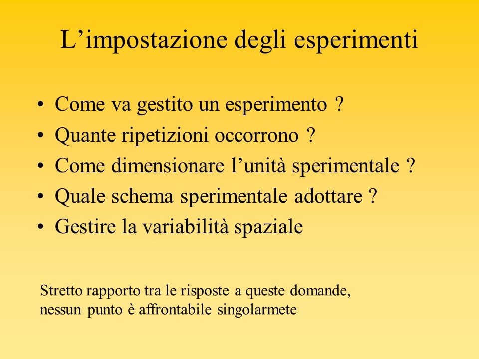 L'impostazione degli esperimenti