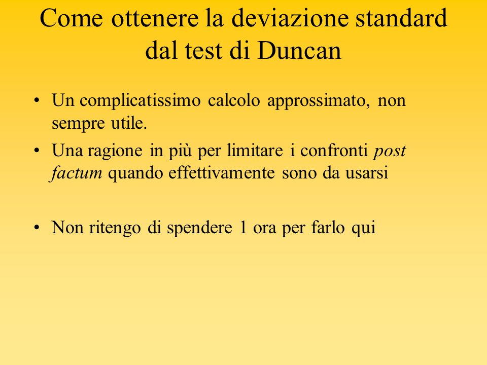 Come ottenere la deviazione standard dal test di Duncan