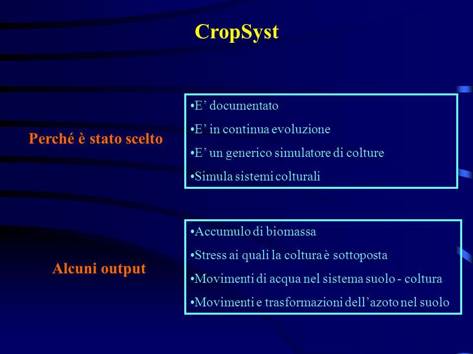 CropSyst Perché è stato scelto Alcuni output E' documentato