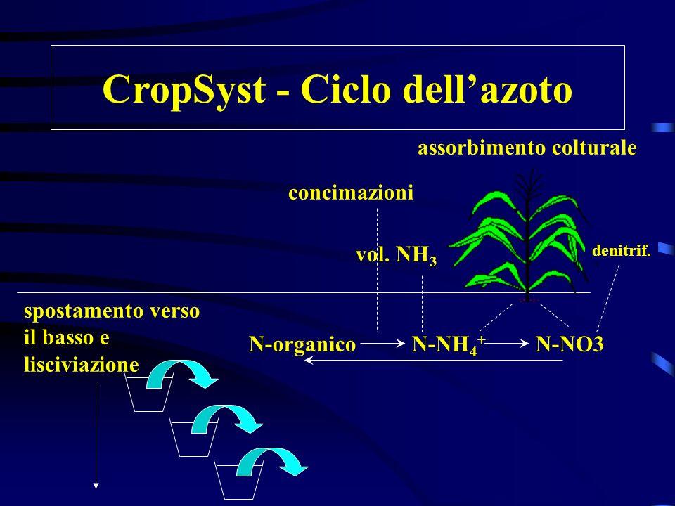 CropSyst - Ciclo dell'azoto