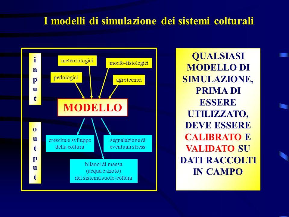 I modelli di simulazione dei sistemi colturali