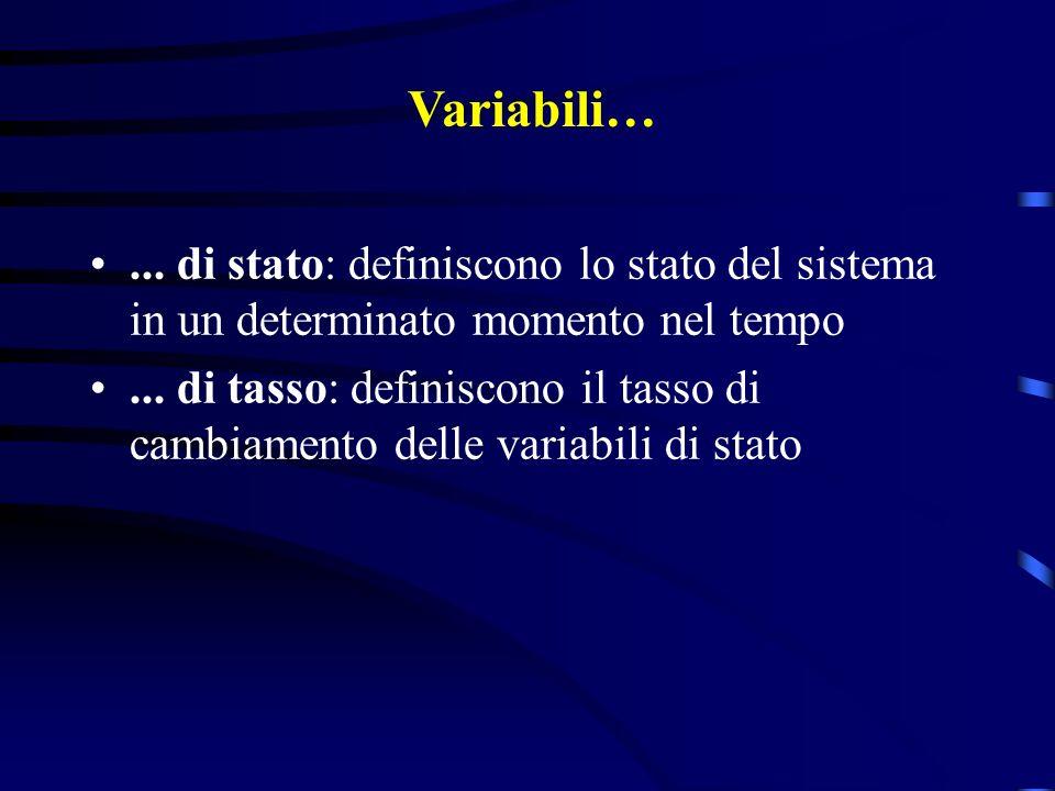 Variabili… ... di stato: definiscono lo stato del sistema in un determinato momento nel tempo.