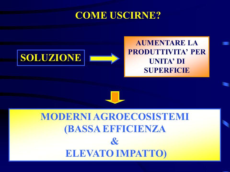 SOLUZIONE MODERNI AGROECOSISTEMI (BASSA EFFICIENZA & ELEVATO IMPATTO)