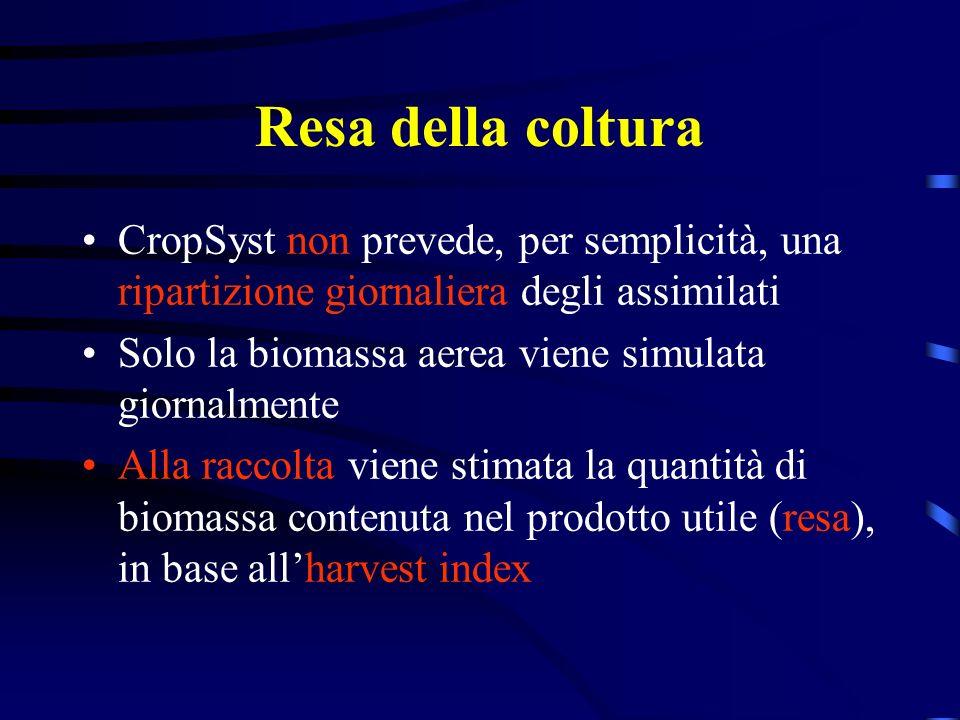 Resa della coltura CropSyst non prevede, per semplicità, una ripartizione giornaliera degli assimilati.