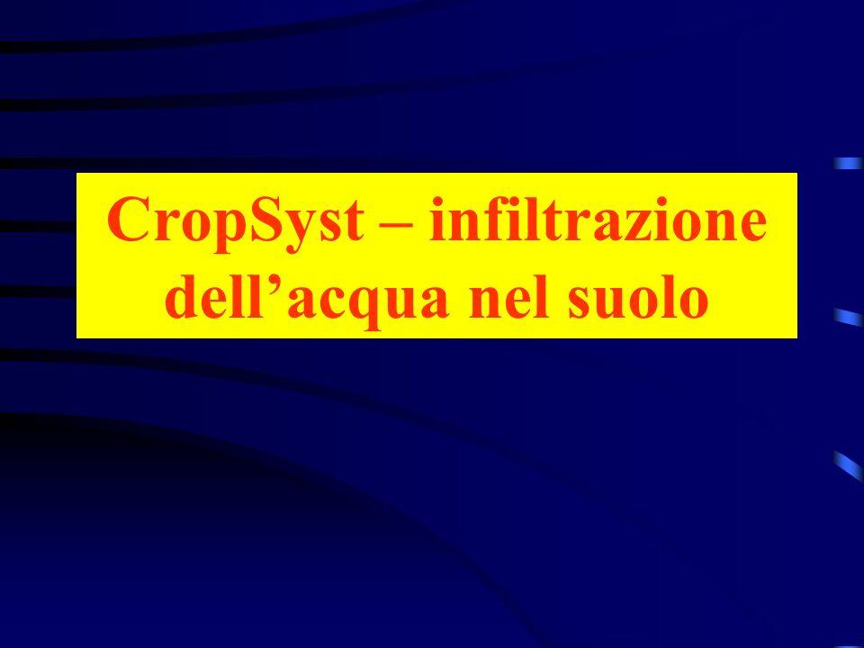 CropSyst – infiltrazione dell'acqua nel suolo