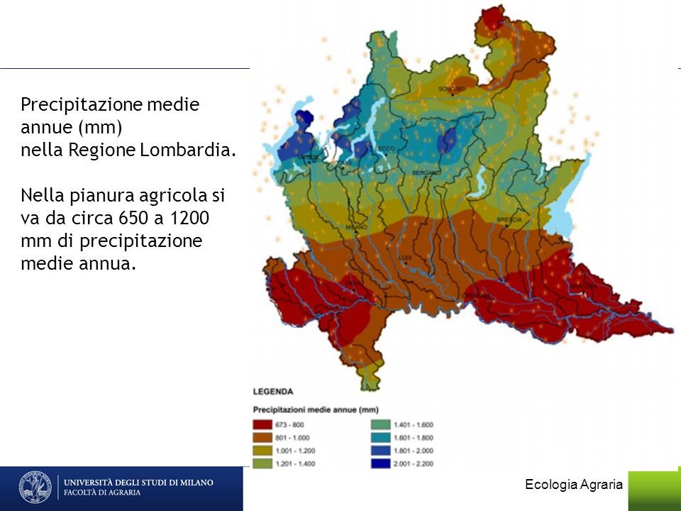 Precipitazione medie annue (mm) nella Regione Lombardia.