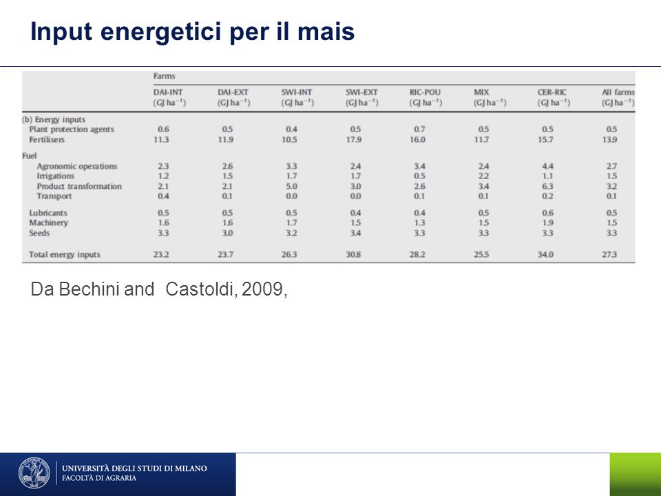 Input energetici per il mais