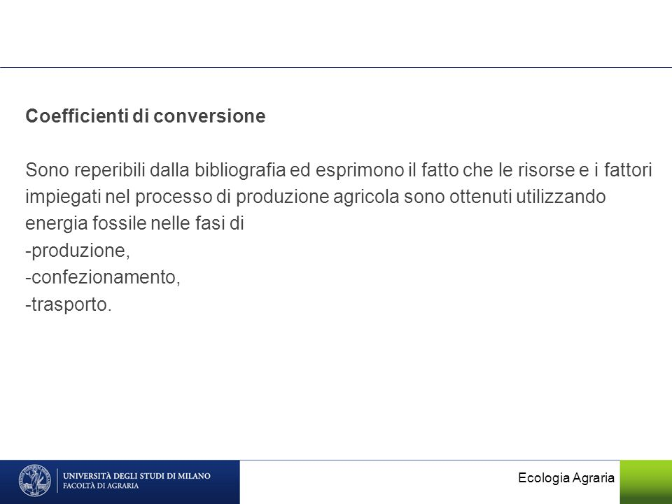 Coefficienti di conversione