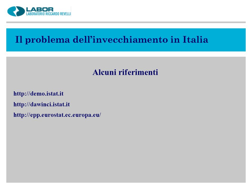 Il problema dell'invecchiamento in Italia