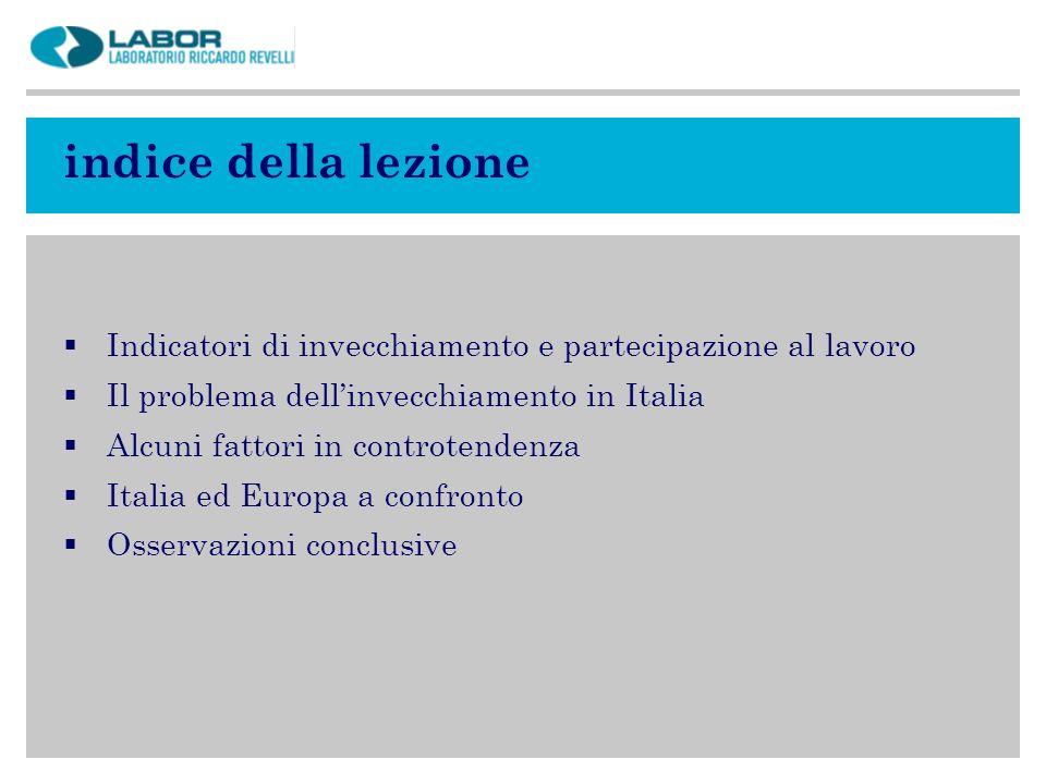 indice della lezione Indicatori di invecchiamento e partecipazione al lavoro. Il problema dell'invecchiamento in Italia.
