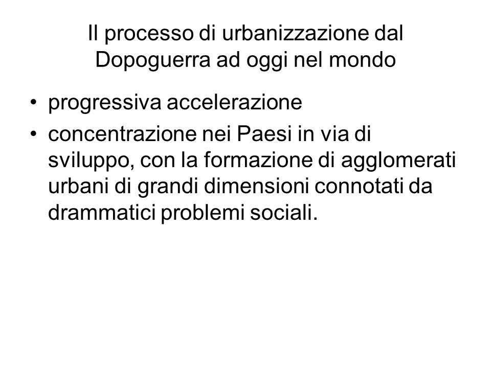 Il processo di urbanizzazione dal Dopoguerra ad oggi nel mondo