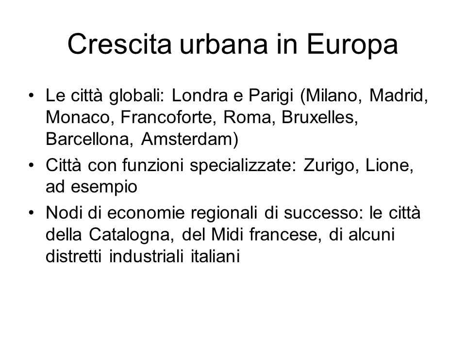 Crescita urbana in Europa