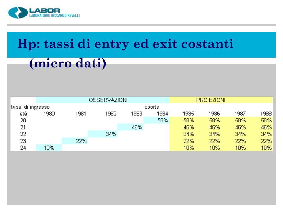 Hp: tassi di entry ed exit costanti (micro dati)