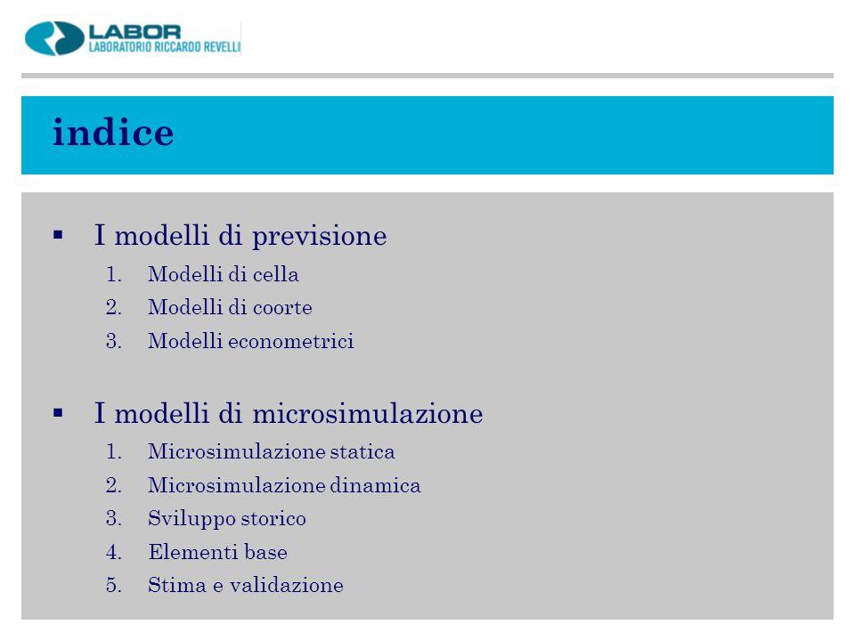 indice I modelli di previsione I modelli di microsimulazione