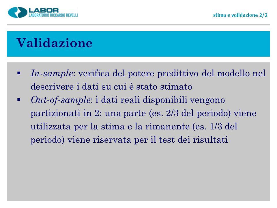 stima e validazione 2/2 Validazione. In-sample: verifica del potere predittivo del modello nel descrivere i dati su cui è stato stimato.