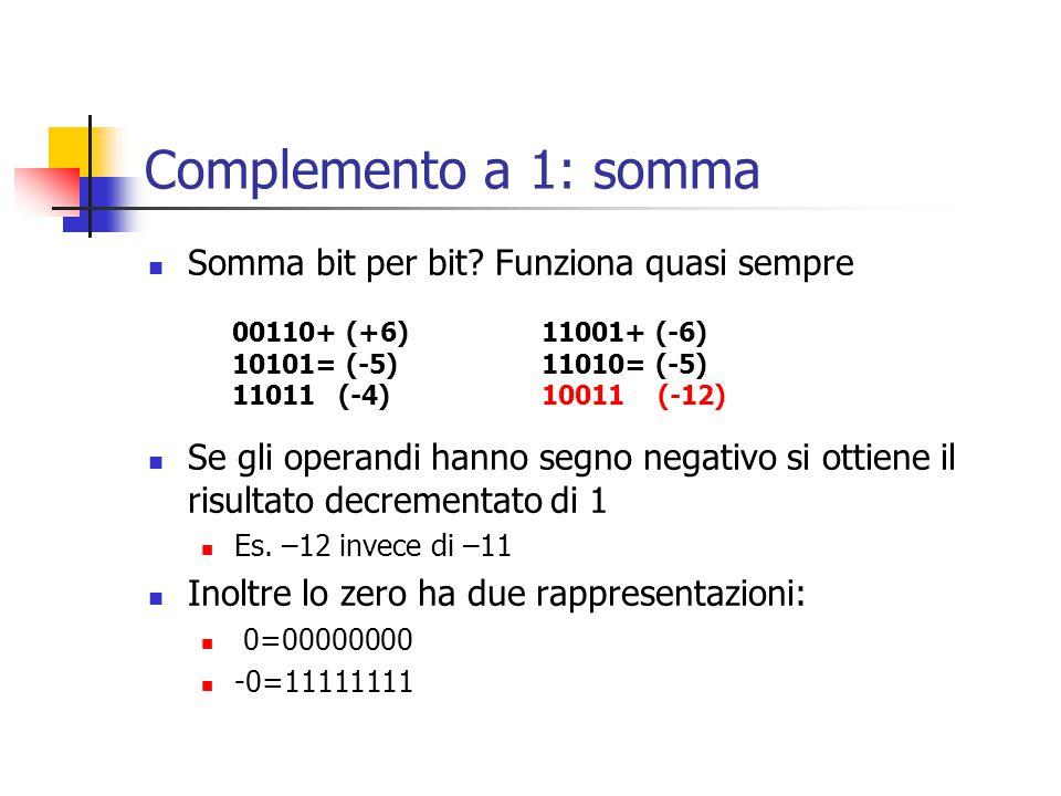 Complemento a 1: somma Somma bit per bit Funziona quasi sempre