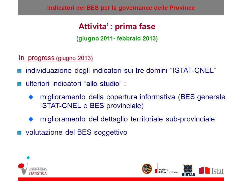 Attivita' : prima fase (giugno 2011- febbraio 2013) In progress (giugno 2013) individuazione degli indicatori sui tre domini ISTAT-CNEL