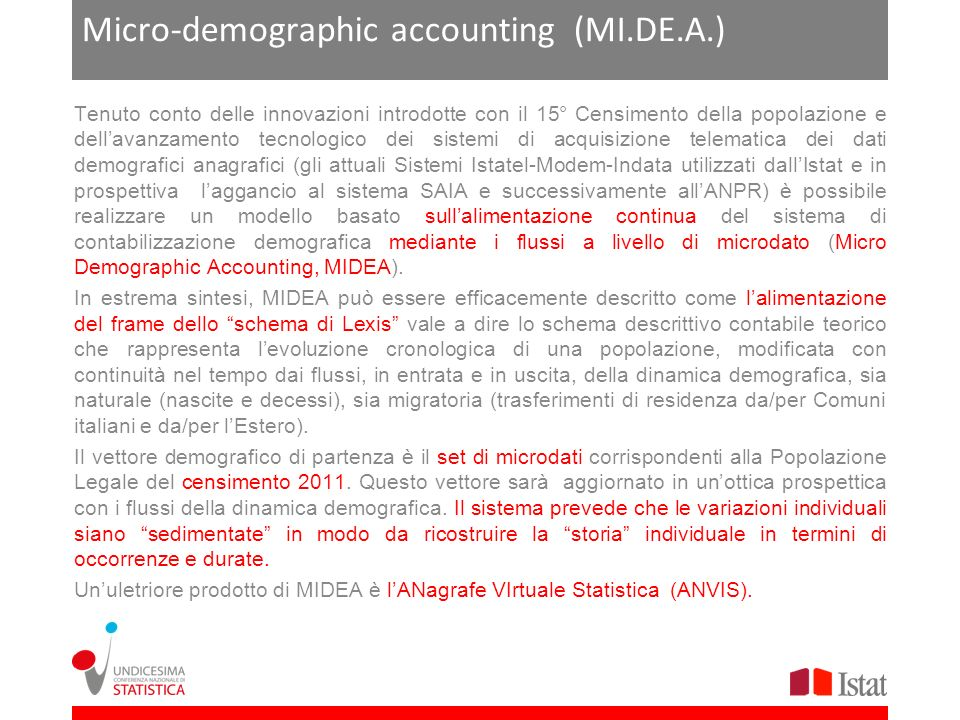 Micro-demographic accounting (MI.DE.A.)