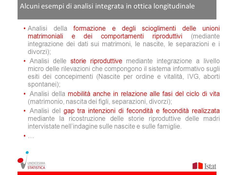 Alcuni esempi di analisi integrata in ottica longitudinale