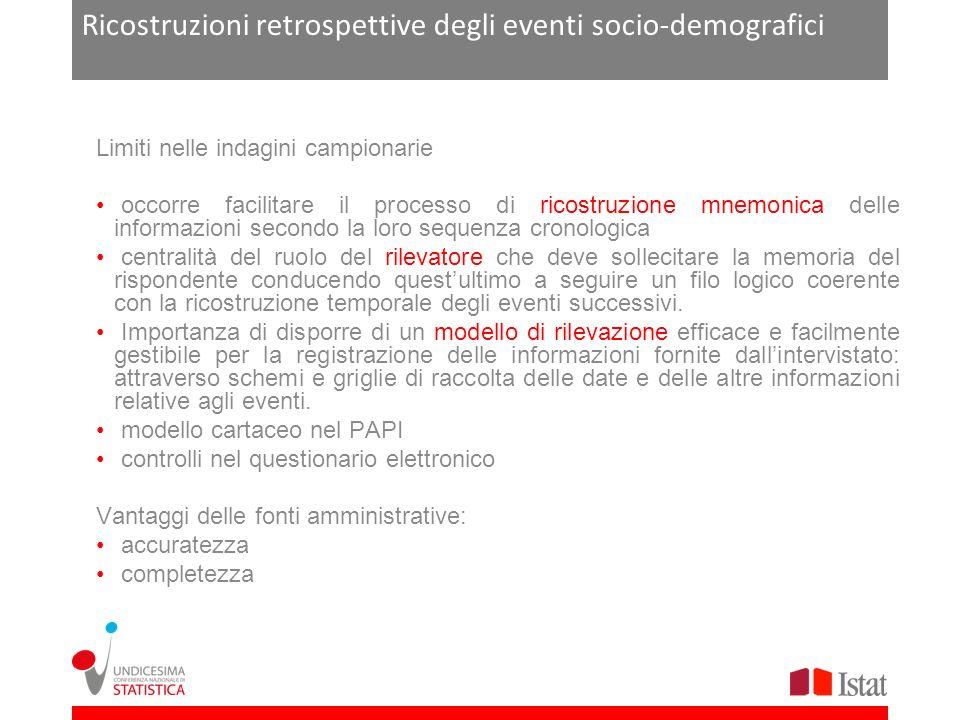 Ricostruzioni retrospettive degli eventi socio-demografici