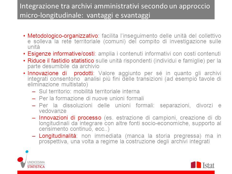Integrazione tra archivi amministrativi secondo un approccio micro-longitudinale: vantaggi e svantaggi