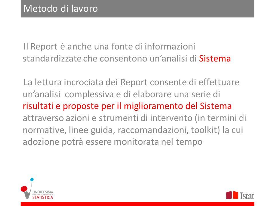 Metodo di lavoro Il Report è anche una fonte di informazioni standardizzate che consentono un'analisi di Sistema.