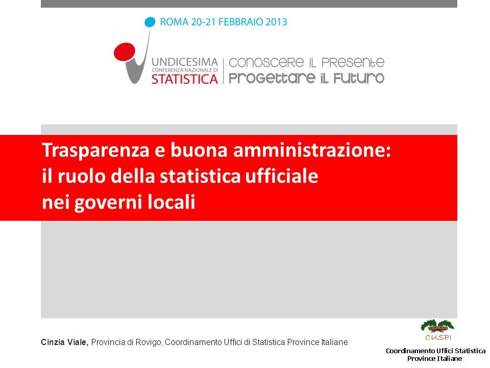 Trasparenza e buona amministrazione: il ruolo della statistica ufficiale nei governi locali