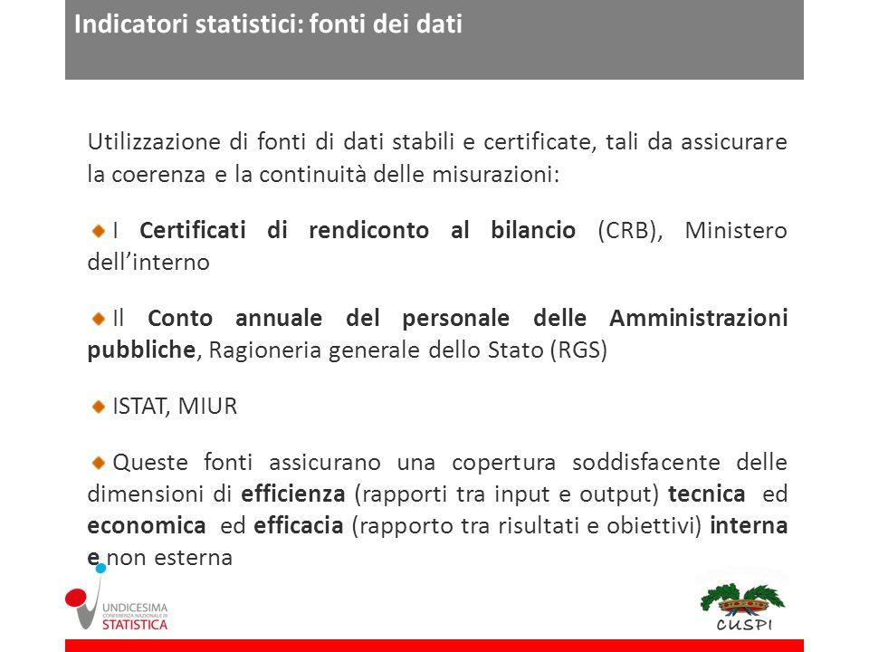 Indicatori statistici: fonti dei dati