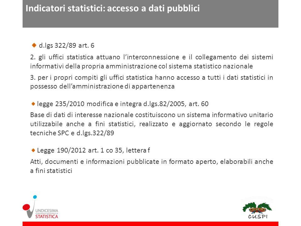 Indicatori statistici: accesso a dati pubblici