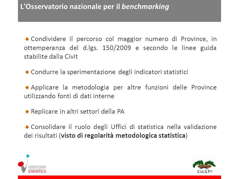 L Osservatorio nazionale per il benchmarking