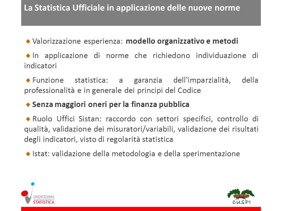La Statistica Ufficiale in applicazione delle nuove norme