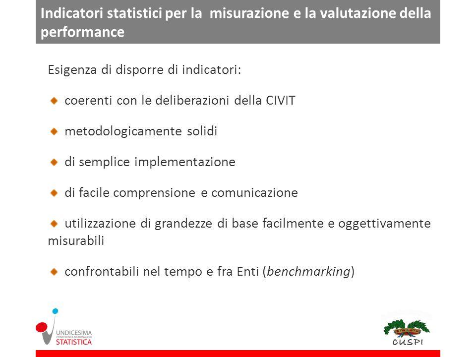 Indicatori statistici per la misurazione e la valutazione della performance
