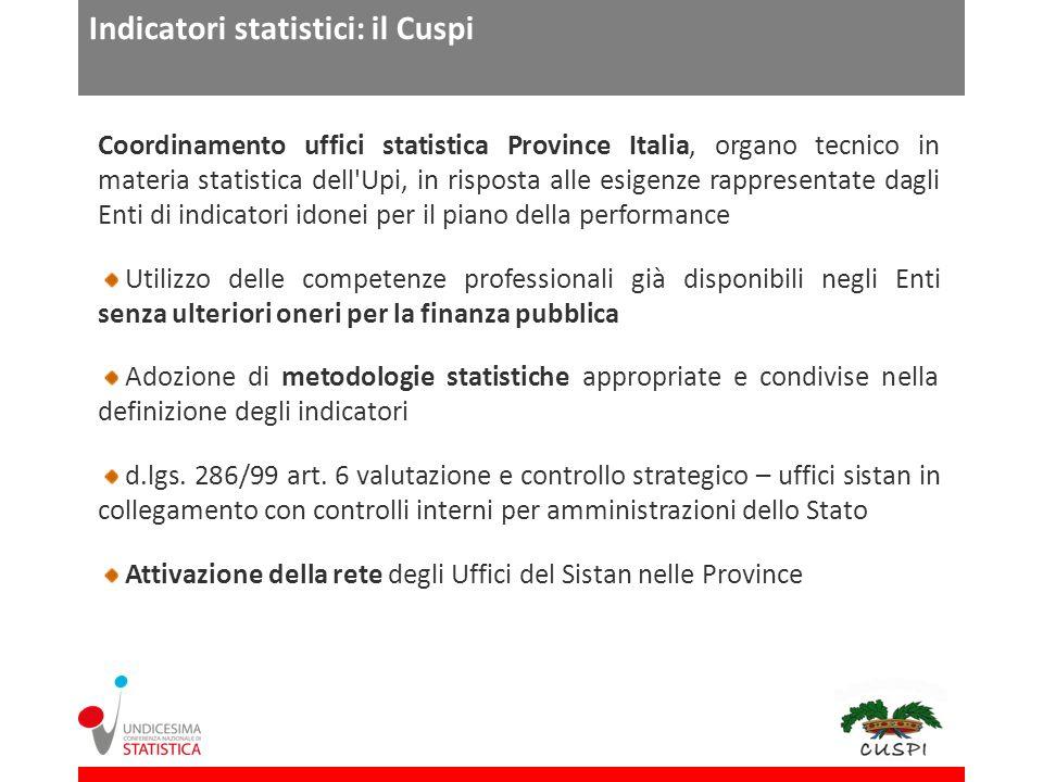 Indicatori statistici: il Cuspi