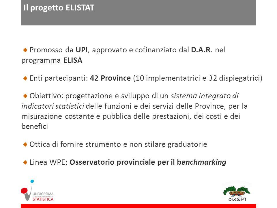 Il progetto ELISTAT Promosso da UPI, approvato e cofinanziato dal D.A.R. nel programma ELISA.
