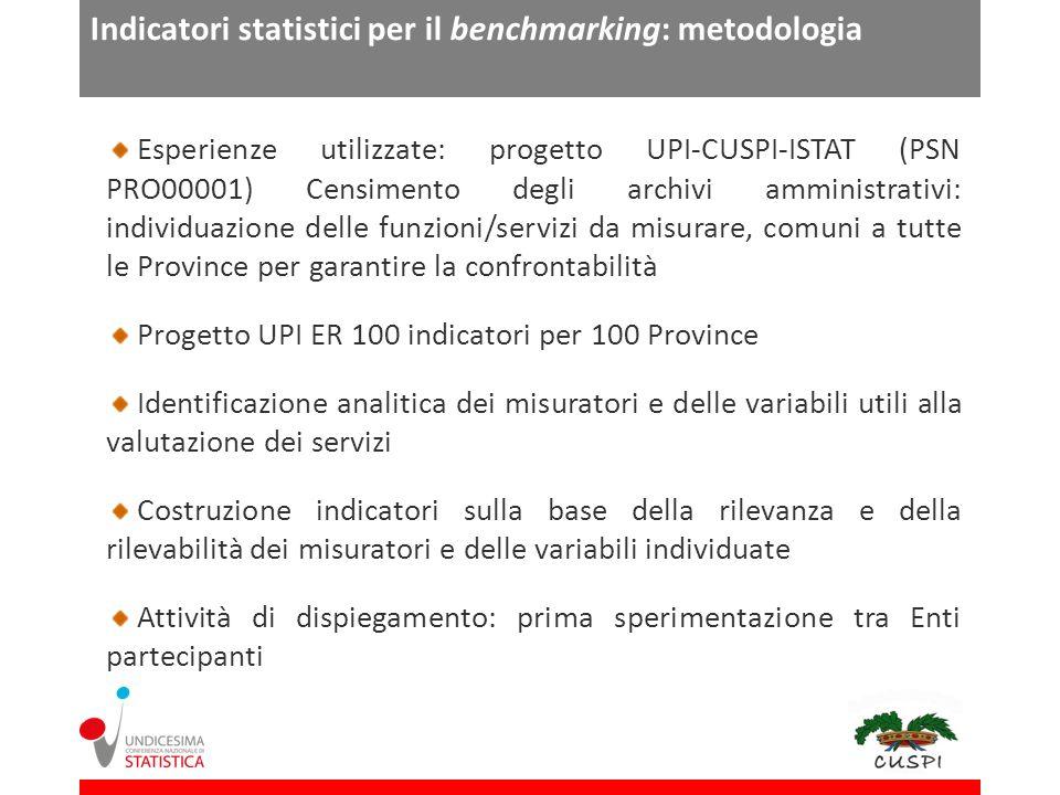 Indicatori statistici per il benchmarking: metodologia