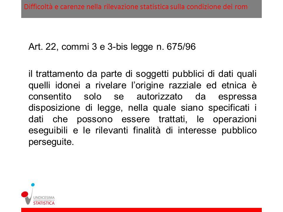 Art. 22, commi 3 e 3-bis legge n. 675/96
