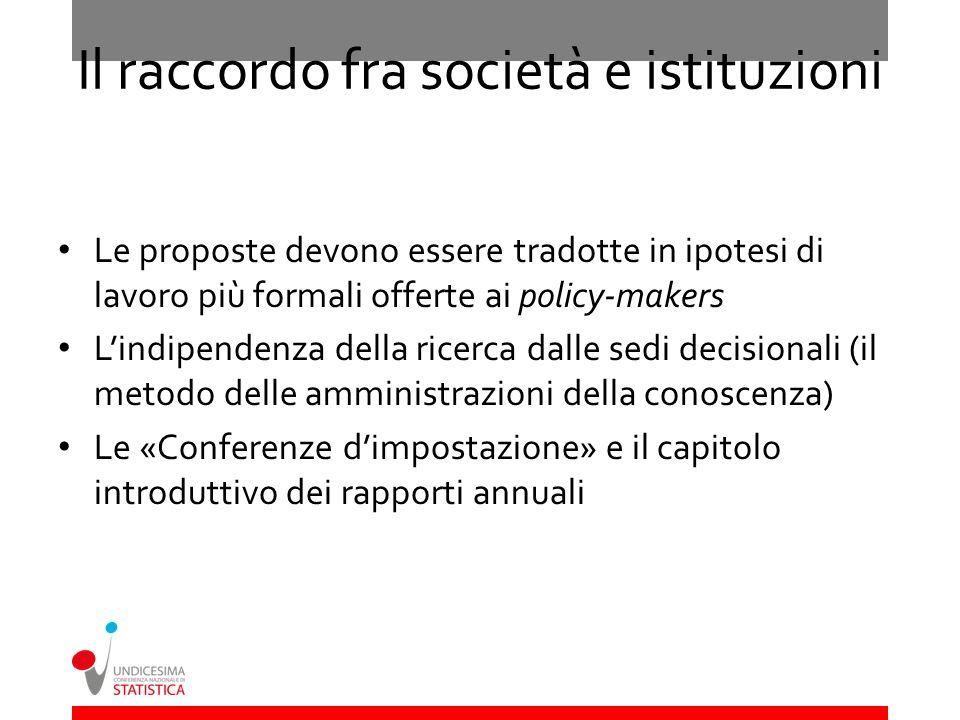 Il raccordo fra società e istituzioni