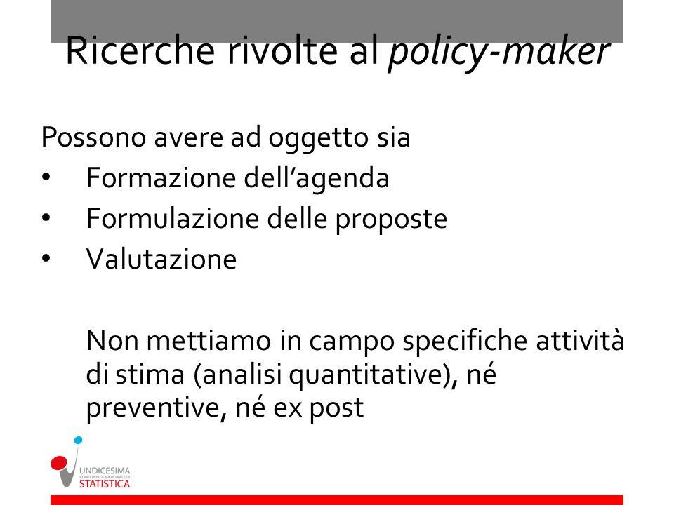 Ricerche rivolte al policy-maker