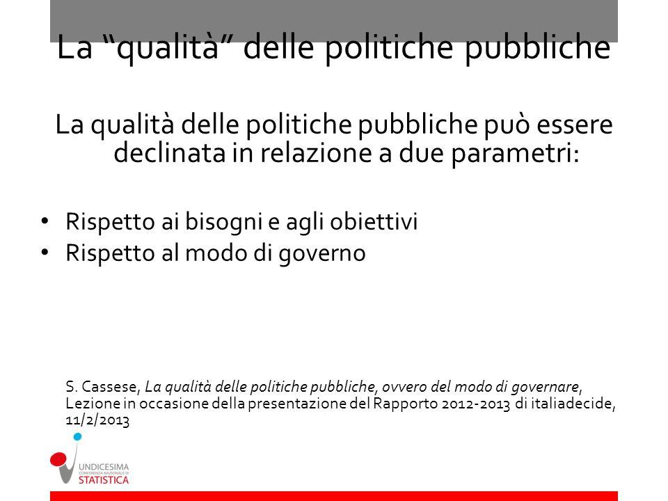 La qualità delle politiche pubbliche