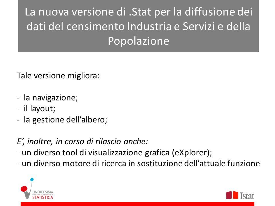 La nuova versione di .Stat per la diffusione dei dati del censimento Industria e Servizi e della Popolazione