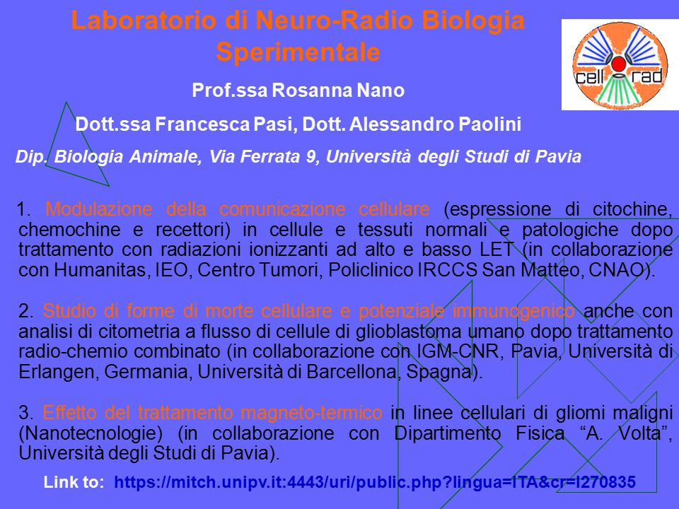 Laboratorio di Neuro-Radio Biologia Sperimentale