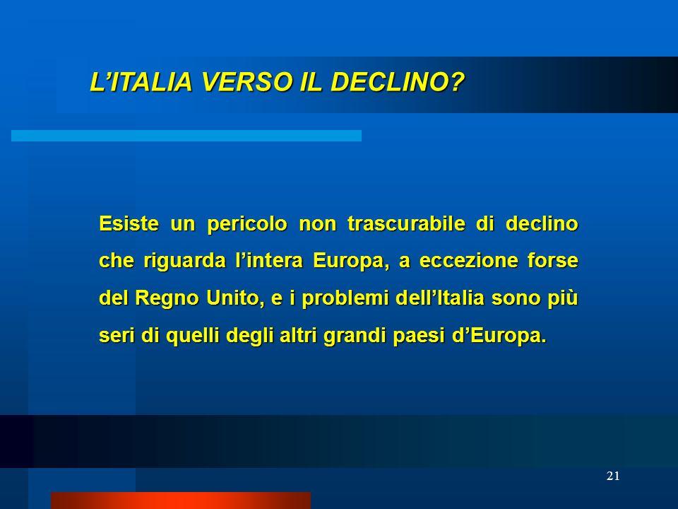 L'ITALIA VERSO IL DECLINO