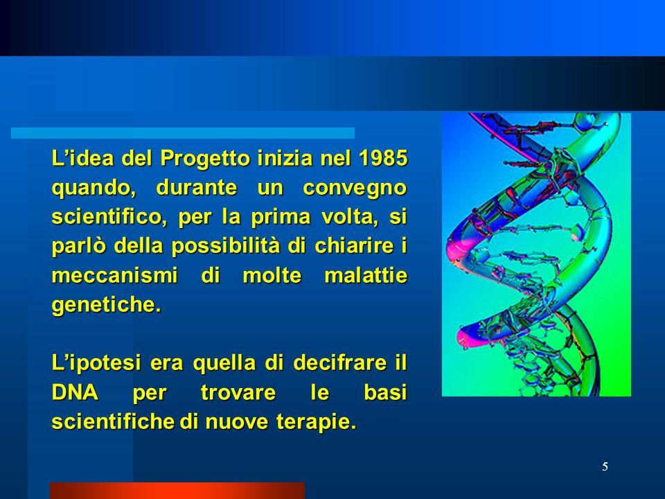 L'idea del Progetto inizia nel 1985 quando, durante un convegno scientifico, per la prima volta, si parlò della possibilità di chiarire i meccanismi di molte malattie genetiche.