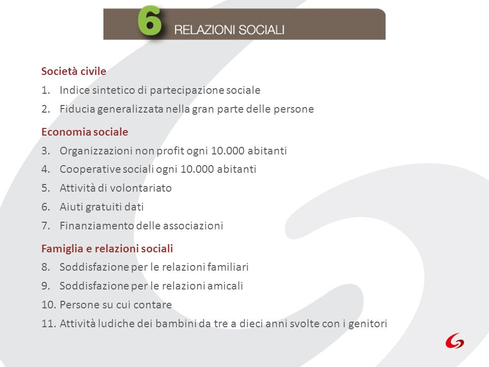 Società civile Indice sintetico di partecipazione sociale. Fiducia generalizzata nella gran parte delle persone.