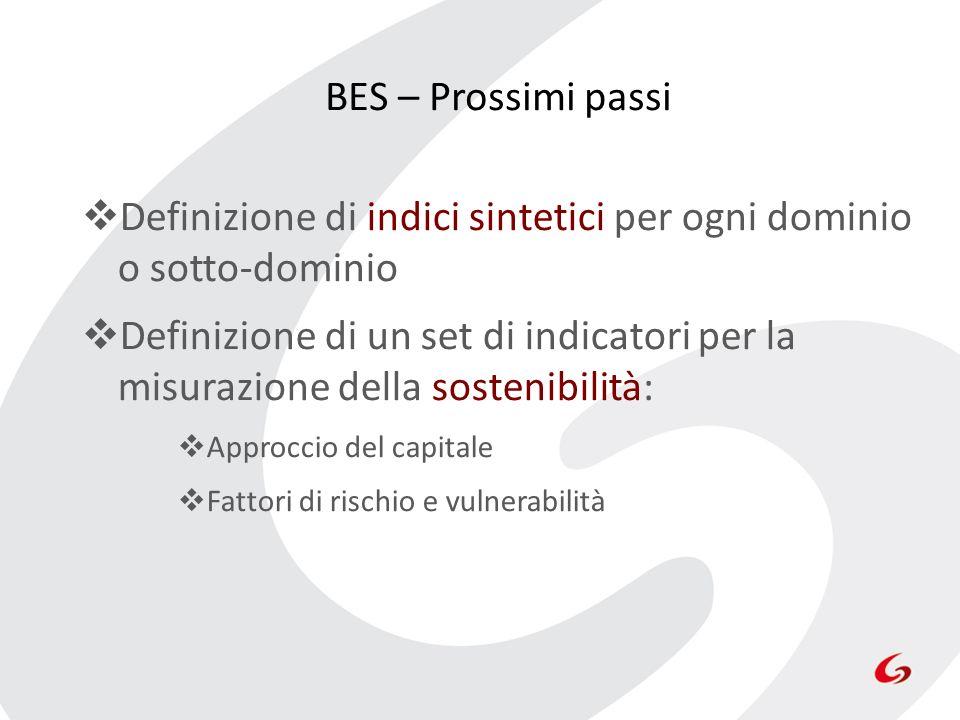 Definizione di indici sintetici per ogni dominio o sotto-dominio